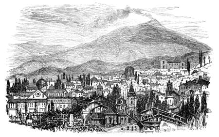 19th century engraving of Mt. Aetna and Brole, Sicily Stock Photo