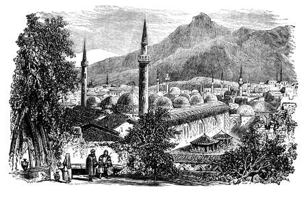 bursa: Victorian engraving of Bursa, Turkey. Digitally restored image from a mid-19th century Encyclopaedia.