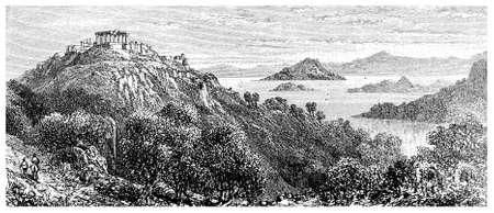 Grabado victoriana de un paisaje griego. Imagen digitalmente restaurada de una enciclopedia mediados del siglo 19. Foto de archivo - 42504069