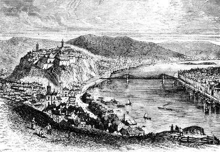 restored: Victorian engraving of Budapest, Hungary. Digitally restored image from a mid-19th century Encyclopaedia.