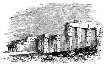 thebes: 19th century engraving of the ruined Egyptian temple at Thebes