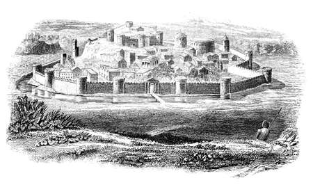 walled: 19th century engraving of a medieval castle