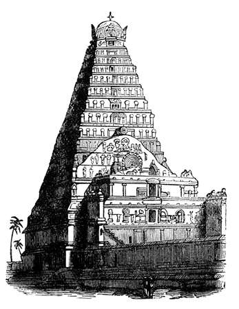 19th: 19th century engaving of an ancient indian pagoda Stock Photo