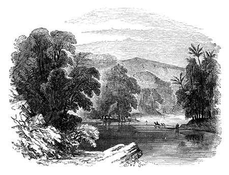 19e-eeuwse gravure van de rivier de Jordaan, Jordanië