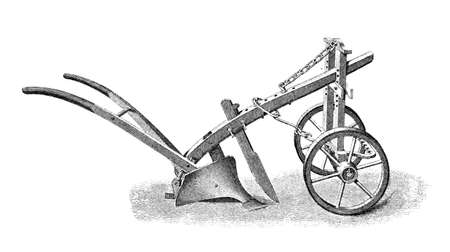restored: Victorian engraving of a plough. Digitally restored image from a mid-19th century Encyclopaedia.