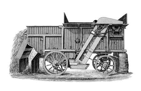 threshing: 19th century engraving of a Finishing Steam Thrashing machine