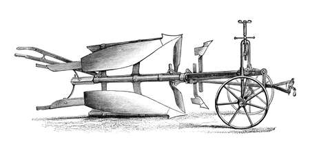 agriculture machinery: Victorian engraving of a plough. Digitally restored image from a mid-19th century Encyclopaedia.