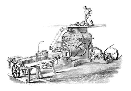 19th century engraving of a brick-making machine