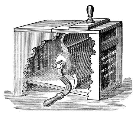 Victorian engraving of a churn. Digitally restored image from a mid-19th century Encyclopaedia.