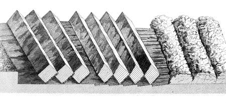 furrow: Victorian engraving of plough furrows. Digitally restored image from a mid-19th century Encyclopaedia.