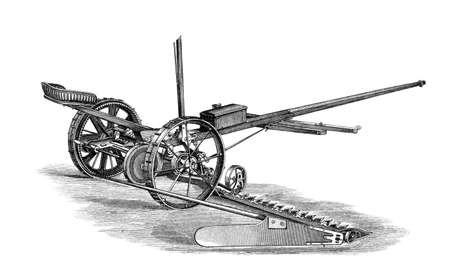restored: Victorian engraving of a mower. Digitally restored image from a mid-19th century Encyclopaedia.