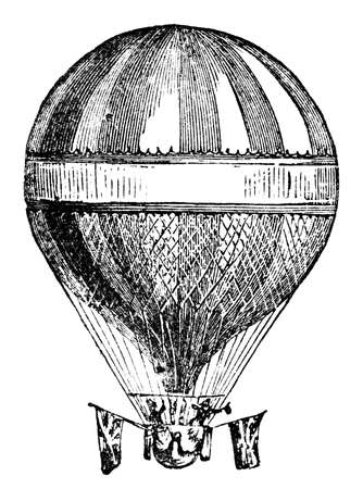 helium balloon: Victorian engraving of a helium balloon. Digitally restored image from a mid-19th century Encyclopaedia. Stock Photo