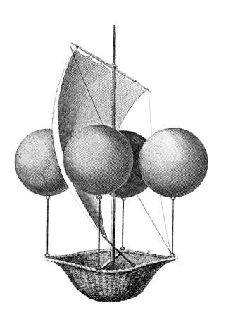 inventions: Victorian engraving of a helium balloon. Digitally restored image from a mid-19th century Encyclopaedia. Stock Photo