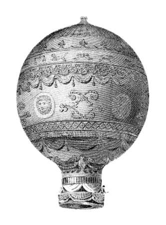 invent: Victorian engraving of a helium balloon. Digitally restored image from a mid-19th century Encyclopaedia. Stock Photo