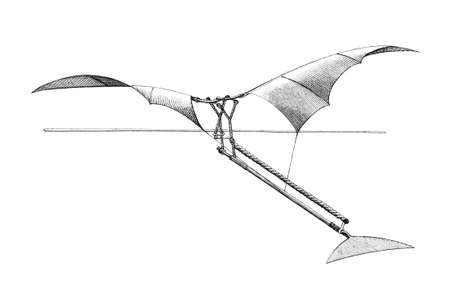 inventions: Victorian engraving of a flying invention. Digitally restored image from a mid-19th century Encyclopaedia.