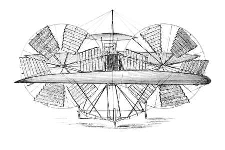 Incisione vittoriana di un'invenzione volante. Immagine ripristinato da un metà del 19 ° secolo Encyclopaedia. Archivio Fotografico - 42506788