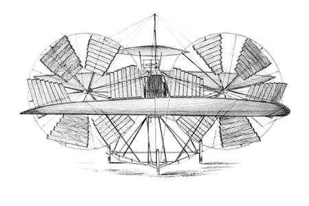 Victorian engraving of a flying invention. Digitally restored image from a mid-19th century Encyclopaedia.