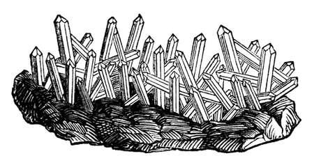 quartz: 19th century engraving of quartz mineral crystals