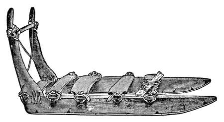 anthropology: Victorian engraving of a traditional Inuit sled