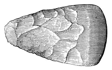 flint: Victorian engraving of a  flint axe head. Digitally restored image from a mid-19th century Encyclopaedia. Stock Photo