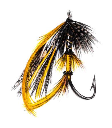 Victoriaanse gravure van een vliegvissen. beeld digitaal hersteld van een midden van de 19e eeuw Encyclopedie.