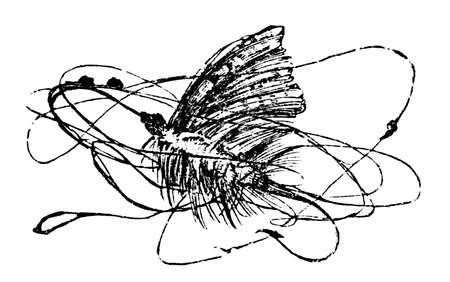 낚시 비행의 19 세기 조각