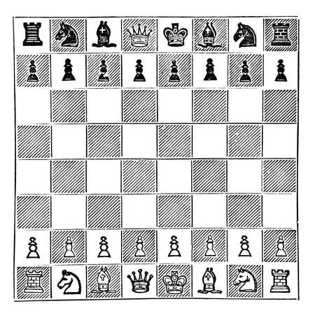 restored: Victorian engraving of a chess board diagram. Digitally restored image from a mid-19th century Encyclopaedia.