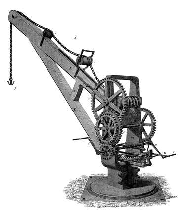 19th century engraving of a mechanical crane Stok Fotoğraf - 42506877