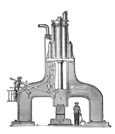 anvil: 19th century engraving of a steam hammer or anvil