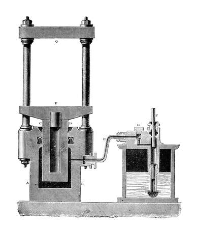19th century engraving of a hydraulic press