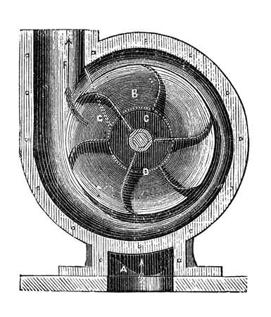 19th century engraving of a centrifugal pump Reklamní fotografie
