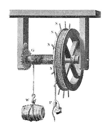 pulley: 19th century illustration of a simple pulley system