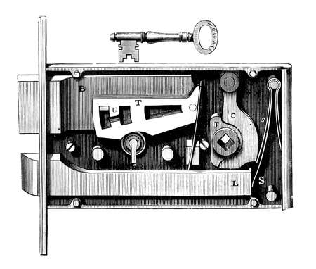 19th century diagram of a complex lock and key