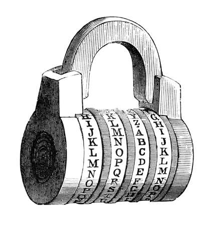combination lock: 19th century engraving of a combination lock