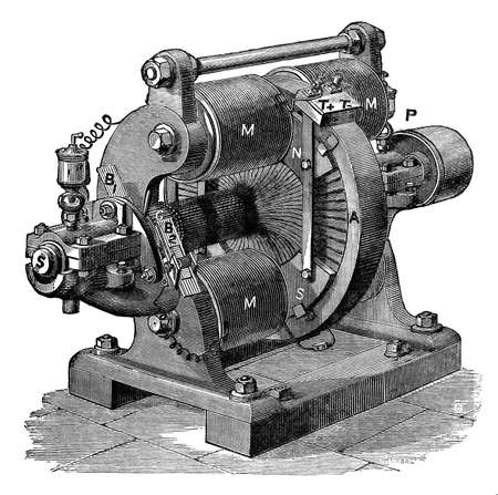 19th century engraving of an electrical generator