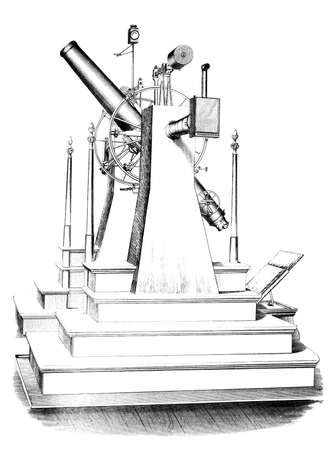 19th century engraving of an observatory telescope Reklamní fotografie