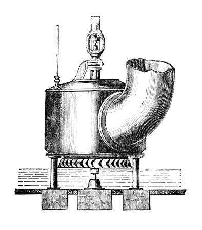 19th Century engraving of an antique metal turbine Reklamní fotografie