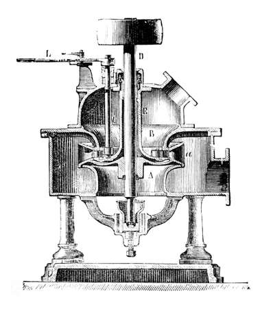 19th century engraving of the workings of an antique turbine