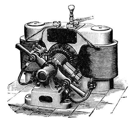dynamo: 19th century engraving of a n antique dynamo generator