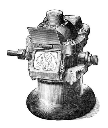 Gravur von einem Wasserzähler aus dem 19. Jahrhundert Standard-Bild - 42506968