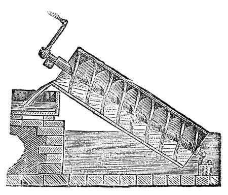 아르키메데스 스크류의 빅토리아 조각. 19 세기 중반 백과 사전에서 디지털 복원 된 이미지.