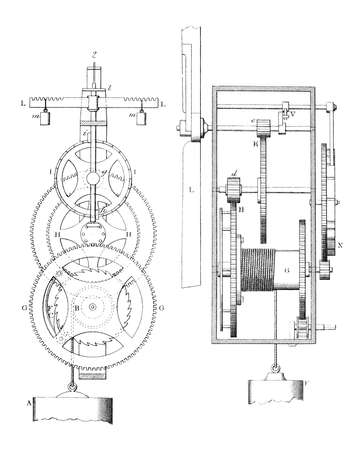 workings: 19th century engraving of the workings of an old clock