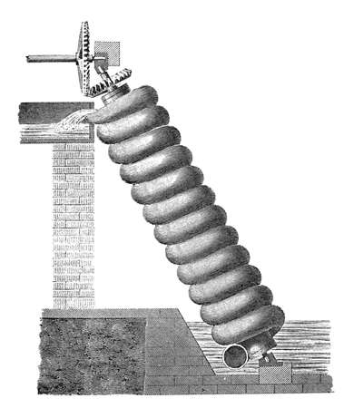 19th century engraving of Archimedes screw water transport