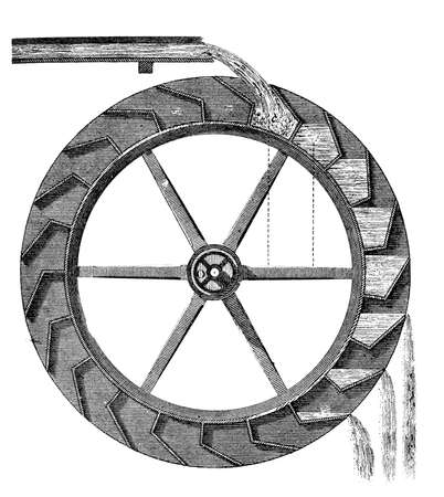 water wheel: 19th century engraving of a water wheel Stock Photo