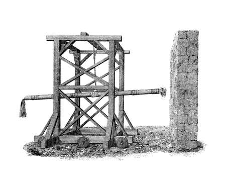 Victorian engraving of a medieval battering ram. Digitally restored image from a mid-19th century Encyclopaedia.