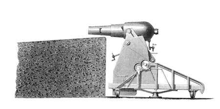 Victorian engraving of an artillery cannon. Digitally restored image from a mid-19th century Encyclopaedia.