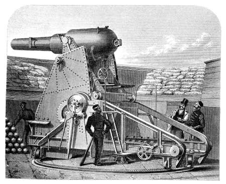 fortification: 19th century engraving of a Moncrieff gun carriage