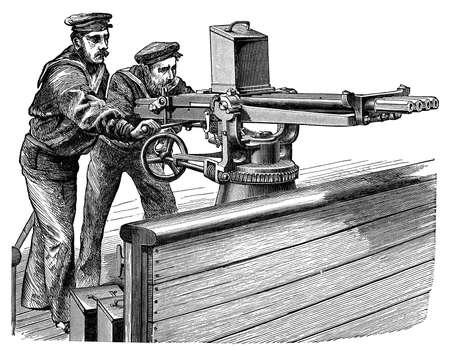 기관총의 19 세기 조각 스톡 콘텐츠