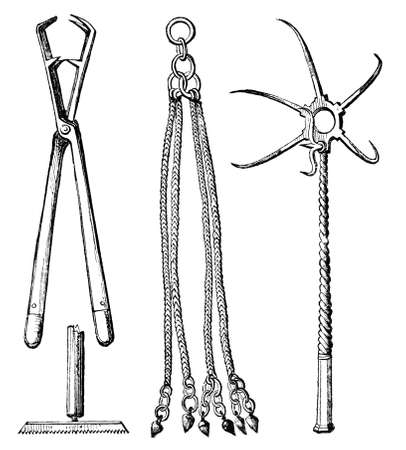 19th century engraving of ancient Roman implements of torture, photographed from a book  titled
