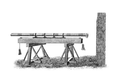 restored: Victorian engraving of a medieval battering ram. Digitally restored image from a mid-19th century Encyclopaedia.